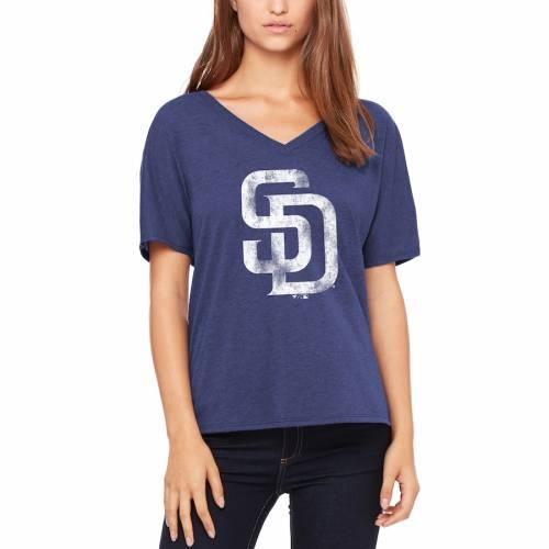 LET LOOSE BY RNL パドレス レディース ロゴ Tシャツ 紺 ネイビー レディースファッション トップス カットソー 【 San Diego Padres Womens Distressed Primary Logo T-shirt - Navy 】 Navy