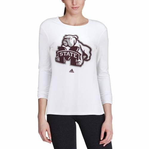 アディダス ADIDAS スケートボード レディース ビンテージ ヴィンテージ スリーブ Tシャツ 白 ホワイト レディースファッション トップス カットソー 【 Mississippi State Bulldogs Womens Vintage Lo