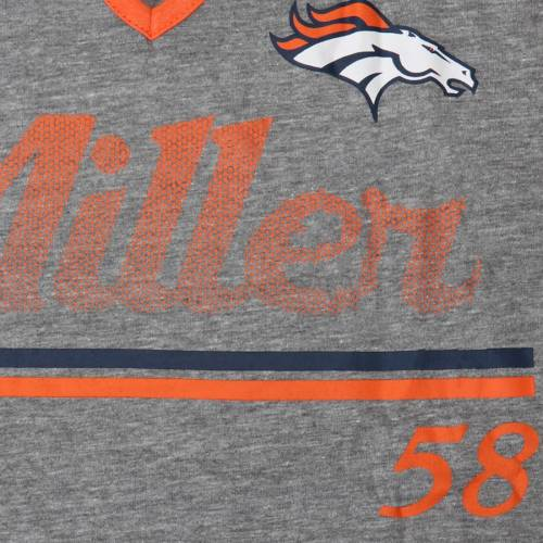 OUTERSTUFF デンバー ブロンコス レディース Tシャツ レディースファッション トップス カットソー 【 Von Miller Denver Broncos Womens Juniors Over The Line Player Name And Number Tri-blend 3/4-sleeve V-notch T-shirt