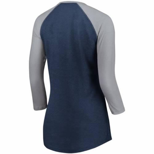 マジェスティック MAJESTIC ヤンキース レディース ラグラン Tシャツ 紺 ネイビー レディースファッション トップス カットソー 【 New York Yankees Womens Winners Glory Raglan 3/4-sleeve T-shirt - Heathere