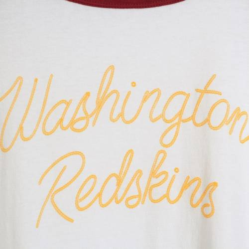 JUNK FOOD ワシントン レッドスキンズ レディース スクリプト ラグラン Tシャツ レディースファッション トップス カットソー 【 Washington Redskins Womens Retro Script Raglan 3/4-sleeve T-shirt - White/bur
