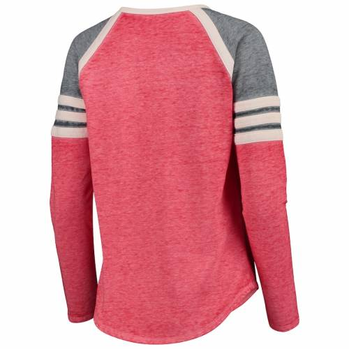 CONCEPTS SPORT ウィスコンシン レディース ラグラン スリーブ Tシャツ レディースファッション トップス カットソー 【 Wisconsin Badgers Womens Cross Neck Raglan Long Sleeve T-shirt - Red/charcoal 】 Red/charc