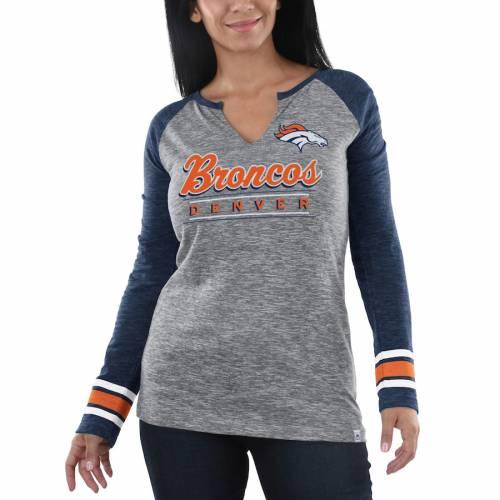 マジェスティック MAJESTIC デンバー ブロンコス レディース スリーブ Tシャツ 紺 ネイビー レディースファッション トップス カットソー 【 Denver Broncos Womens Lead Play Long Sleeve V-notch T-shirt -