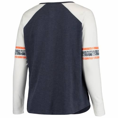 PROFILE デンバー ブロンコス レディース ラグラン スリーブ Tシャツ 紺 ネイビー レディースファッション トップス カットソー 【 Denver Broncos Womens Plus Size Notch Raglan Long Sleeve T-shirt - Heathere