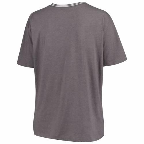 マジェスティック MAJESTIC ヤンキース レディース ブイネック Tシャツ 灰色 グレー グレイ レディースファッション トップス カットソー 【 New York Yankees Womens Plus Size Rib V-neck T-shirt - Heathe