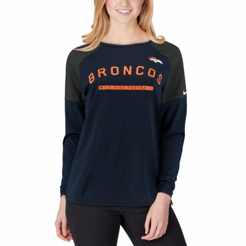 ナイキ NIKE デンバー ブロンコス レディース Tシャツ 紺 ネイビー レディースファッション トップス カットソー 【 Denver Broncos Womens Tailgate Long-sleeve T-shirt - Navy 】 Navy