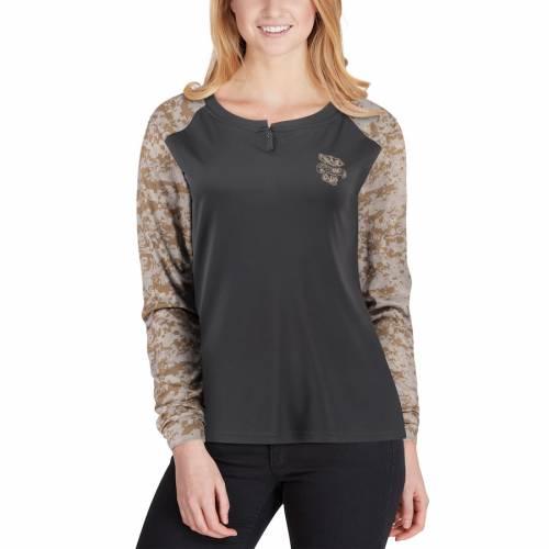COLOSSEUM ウィスコンシン レディース ラグラン スリーブ ヘンリー Tシャツ レディースファッション トップス カットソー 【 Wisconsin Badgers Womens United We Stand Camo Raglan Long Sleeve Henley T-shirt - C