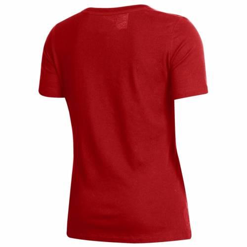 アンダーアーマー UNDER ARMOUR ウィスコンシン レディース ロゴ パフォーマンス ブイネック Tシャツ 赤 レッド レディースファッション トップス カットソー 【 Wisconsin Badgers Womens Logo Perfo
