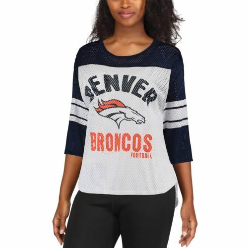G-III 4HER BY CARL BANKS デンバー ブロンコス レディース チーム スリーブ Tシャツ レディースファッション トップス カットソー 【 Denver Broncos Womens First Team Three-quarter Sleeve Mesh T-shirt - White/na