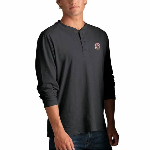 VANTAGE APPAREL スタンフォード 赤 カーディナル ヘンリー Tシャツ 黒 ブラック メンズファッション トップス カットソー メンズ 【 Stanford Cardinal Cambridge Henley 3/4-sleeve T-shirt - Black 】 Black