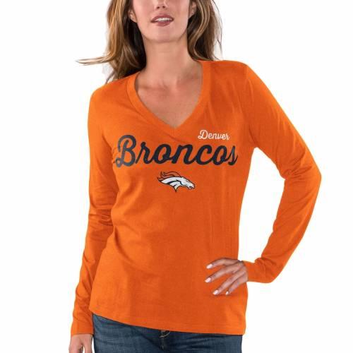 G-III 4HER BY CARL BANKS デンバー ブロンコス レディース ブイネック スリーブ Tシャツ 橙 オレンジ レディースファッション トップス カットソー 【 Denver Broncos Womens Preseason V-neck Long Sleeve T-s