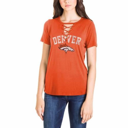 ニューエラ NEW ERA デンバー ブロンコス レディース Tシャツ 橙 オレンジ レディースファッション トップス カットソー 【 Denver Broncos Womens Athletic Lace-up T-shirt - Orange 】 Orange