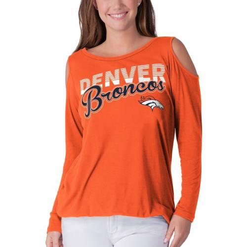 G-III 4HER BY CARL BANKS デンバー ブロンコス レディース スリーブ Tシャツ 橙 オレンジ レディースファッション トップス カットソー 【 Denver Broncos Womens Crackerjack Cold Shoulder Long Sleeve T-shirt -