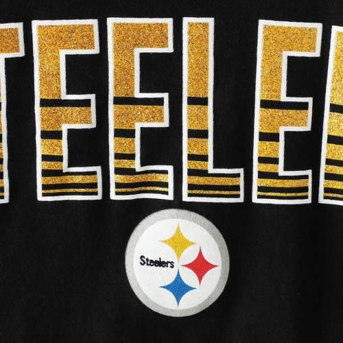 ニューエラ NEW ERA ピッツバーグ スティーラーズ レディース ブイネック Tシャツ 黒 ブラック レディースファッション トップス カットソー 【 Pittsburgh Steelers Womens Gradient Glitter Choker V-nec