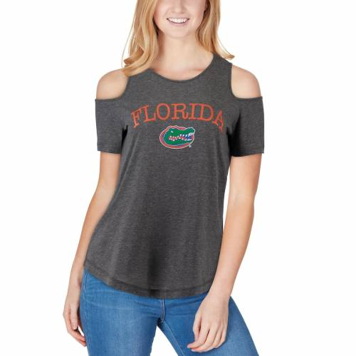 BOXERCRAFT フロリダ レディース ジャージ Tシャツ チャコール レディースファッション トップス カットソー 【 Florida Gators Womens Sueded Jersey Cold Shoulder T-shirt - Charcoal 】 Charcoal