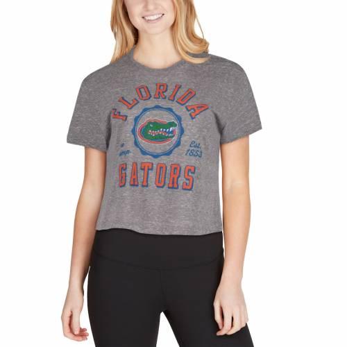 PRESSBOX フロリダ レディース クロップ Tシャツ 灰色 グレー グレイ レディースファッション トップス カットソー 【 Florida Gators Womens Bishop Tri-blend Knobi Crop T-shirt - Gray 】 Gray
