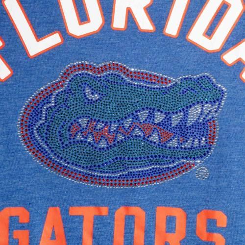 G-III SPORTS BY CARL BANKS フロリダ レディース スリーブ ストライプ Tシャツ レディースファッション トップス カットソー 【 Florida Gators Womens Extra Point Sleeve Stripe Tri-blend T-shirt - Heathered Royal