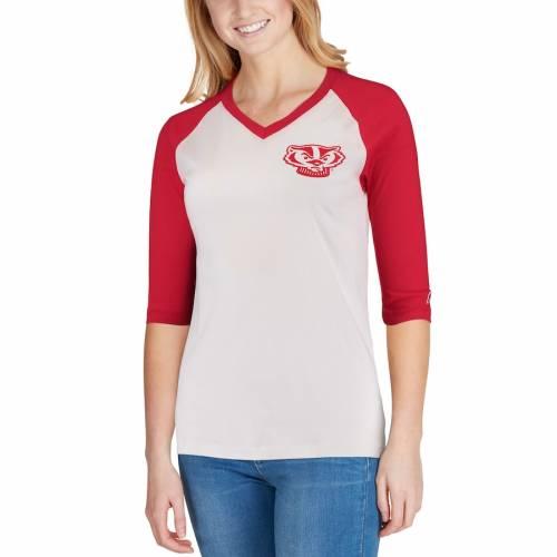 LEAGUE COLLEGIATE WEAR ウィスコンシン レディース ベースボール ブイネック Tシャツ レディースファッション トップス カットソー 【 Wisconsin Badgers Womens League Camp Baseball V-neck T-shirt - White/red
