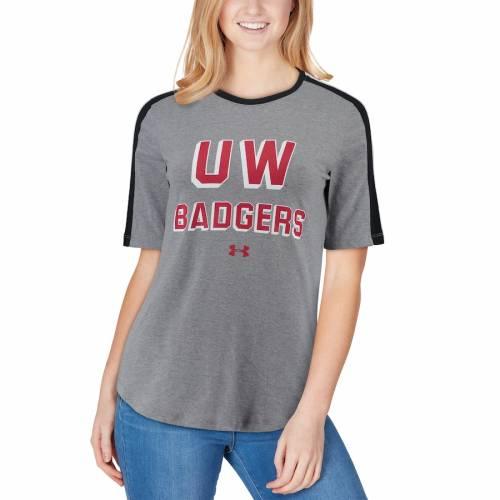アンダーアーマー UNDER ARMOUR ウィスコンシン レディース フリースタイル スリーブ パフォーマンス Tシャツ 灰色 グレー グレイ レディースファッション トップス カットソー 【 Wisconsin B
