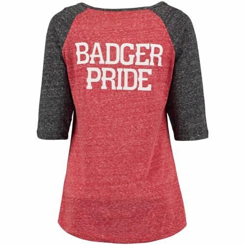 PRESSBOX ウィスコンシン レディース ラグラン スリーブ Tシャツ レディースファッション トップス カットソー 【 Wisconsin Badgers Womens Baja Pocket Three-quarter Raglan Sleeve T-shirt - Red/black 】 Red/blac