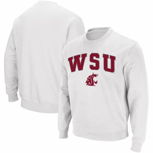 COLOSSEUM ワシントン スケートボード ロゴ 白 ホワイト メンズファッション トップス スウェット トレーナー メンズ 【 Washington State Cougars Arch And Logo Crew Neck Sweatshirt - White 】 White