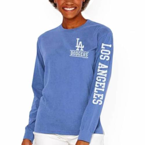 SOFT AS A GRAPE ドジャース レディース スリーブ Tシャツ レディースファッション トップス カットソー 【 Los Angeles Dodgers Womens Pigment Dye Comfort Color Long Sleeve T-shirt - Royal 】 Royal