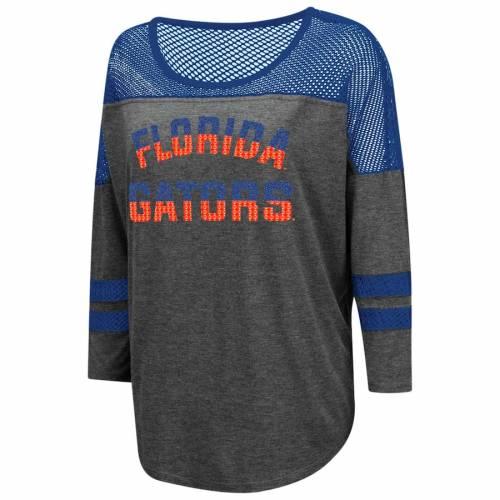 COLOSSEUM フロリダ レディース Tシャツ チャコール WOMEN'S FINECOLOSSEUM FLORIDA GATORS OVERSIZED MESH YOKE 3 4SLEEVE TSHIRT CHARCOALレディースファッション トップス Tシャツ カットソーCtQshrdx