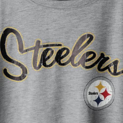 TOUCH BY ALYSSA MILANO ピッツバーグ スティーラーズ レディース Tシャツ 灰色 グレー グレイ レディースファッション トップス カットソー 【 Pittsburgh Steelers Womens Mascot Peplum T-shirt - Heathered Gr