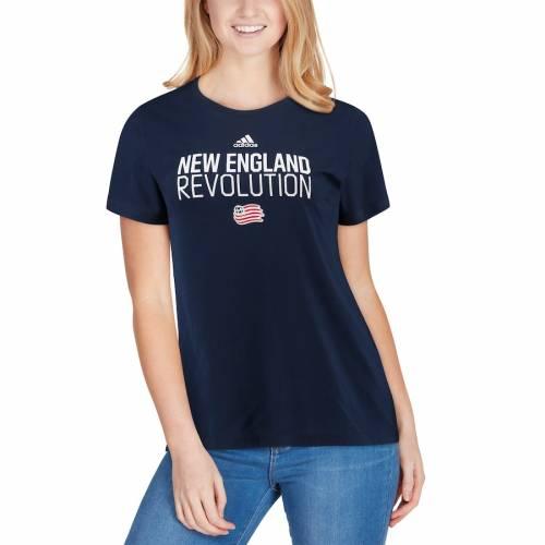 アディダス ADIDAS レディース パフォーマンス Tシャツ 紺 ネイビー レディースファッション トップス カットソー 【 New England Revolution Womens Performance Locker Stacked T-shirt - Navy 】 Navy