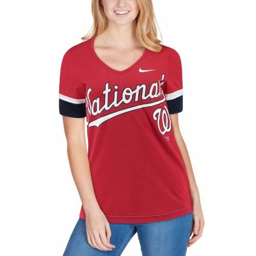 ナイキ NIKE ワシントン ナショナルズ レディース ブイネック Tシャツ 赤 レッド レディースファッション トップス カットソー 【 Washington Nationals Womens Mesh V-neck T-shirt - Red 】 Red