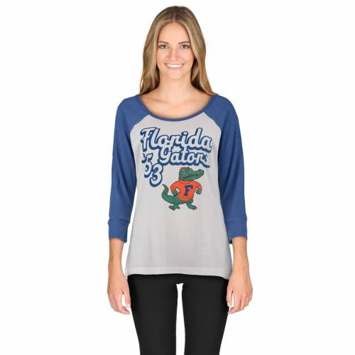 PRESSBOX フロリダ レディース Tシャツ 白 ホワイト レディースファッション トップス カットソー 【 Florida Gators Womens Shoreline Melange 3/4-sleeve T-shirt - White 】 White