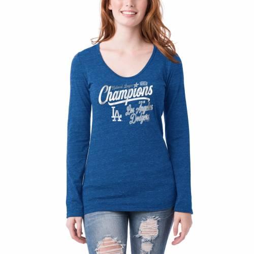 ニューエラ NEW ERA ドジャース レディース スリーブ Tシャツ レディースファッション トップス カットソー 【 Los Angeles Dodgers Womens 2018 National League Champions Long Sleeve Tri-blend T-shirt - Royal 】 R