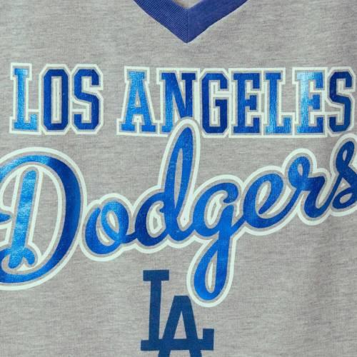 G-III 4HER BY CARL BANKS ドジャース レディース ラグラン ブイネック Tシャツ レディースファッション トップス カットソー 【 Los Angeles Dodgers Womens Goal Line Raglan V-neck T-shirt - Gray/royal 】 Gray/roy