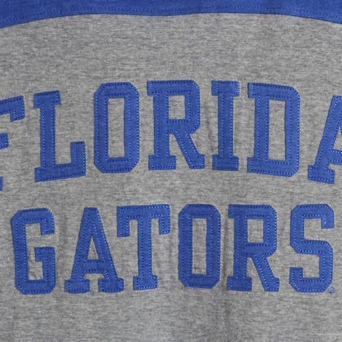 PRESSBOX フロリダ レディース スリーブ ストライプ Tシャツ レディースファッション トップス カットソー 【 Florida Gators Womens Peyton Sleeve Stripe Applique Long Sleeve T-shirt - Heathered Gray/royal 】 Heat