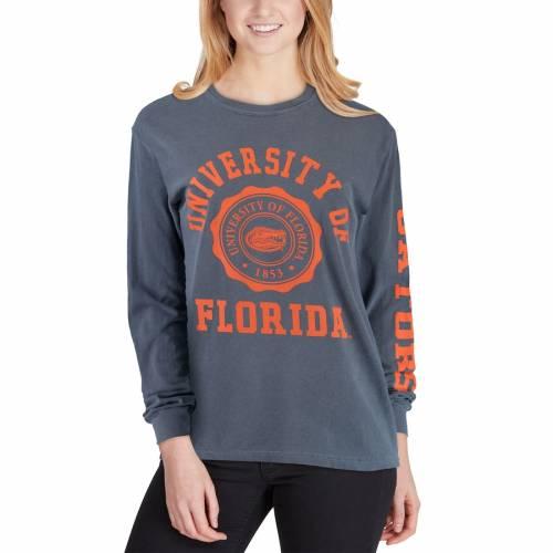 SUMMIT SPORTSWEAR フロリダ レディース スリーブ Tシャツ 紺 ネイビー レディースファッション トップス カットソー 【 Florida Gators Womens Oversized Comfort Colors University Seal Long Sleeve T-shirt - Navy 】
