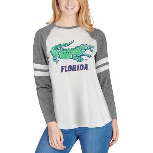 LAUREN JAMES フロリダ レディース ラグラン スリーブ Tシャツ レディースファッション トップス カットソー 【 Florida Gators Womens Jennie Raglan Tri-blend Long Sleeve T-shirt - White/gray 】 White/gray