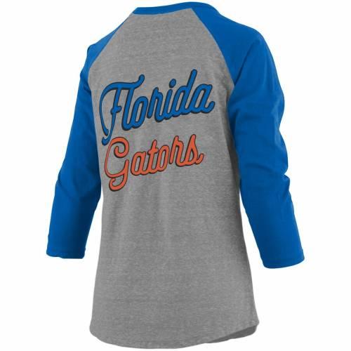 PRESSBOX フロリダ レディース ラグラン スリーブ Tシャツ レディースファッション トップス カットソー 【 Florida Gators Womens Plus Size Two-hit Lace-up Raglan Long Sleeve T-shirt - Heathered Gray/royal 】 Heat