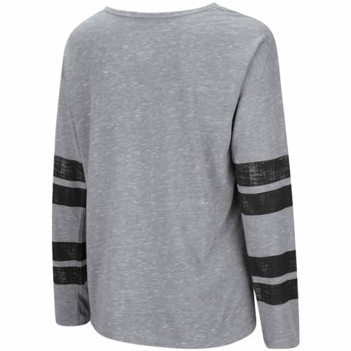 COLOSSEUM 黒 ブラック レディース スリーブ Tシャツ 灰色 グレー グレイ レディースファッション トップス カットソー 【 Army Black Knights Womens Nellie Heart Striped Long Sleeve T-shirt - Heathered Gray 】