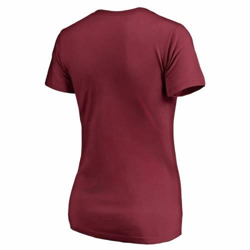 NFL PRO LINE BY FANATICS BRANDED ワシントン レッドスキンズ レディース ビンテージ ヴィンテージ コレクション ビクトリー ブイネック Tシャツ ワイン色 バーガンディー レディースファッショ