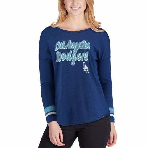 '47 ドジャース レディース クラブ ストライプ スリーブ Tシャツ レディースファッション トップス カットソー 【 Los Angeles Dodgers Womens Club Courtside Stripe Long Sleeve T-shirt - Royal 】 Royal
