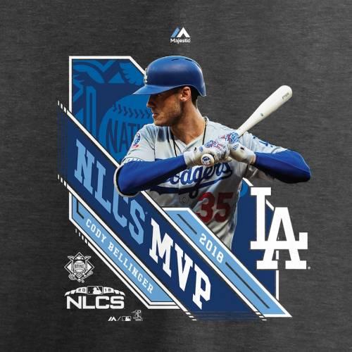 マジェスティック MAJESTIC ドジャース レディース ブイネック Tシャツ 灰色 グレー グレイ レディースファッション トップス カットソー 【 Cody Bellinger Los Angeles Dodgers Womens 2018 National Leagu