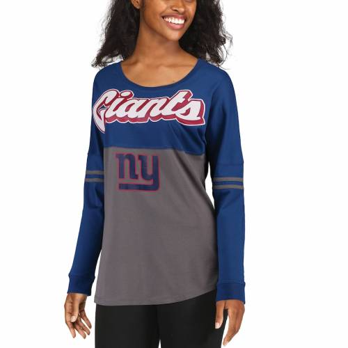 5TH & OCEAN BY NEW ERA ジャイアンツ レディース スリーブ Tシャツ レディースファッション トップス カットソー 【 New York Giants 5th And Ocean By New Era Womens Athletic Varsity Long Sleeve T-shirt - Royal/cha