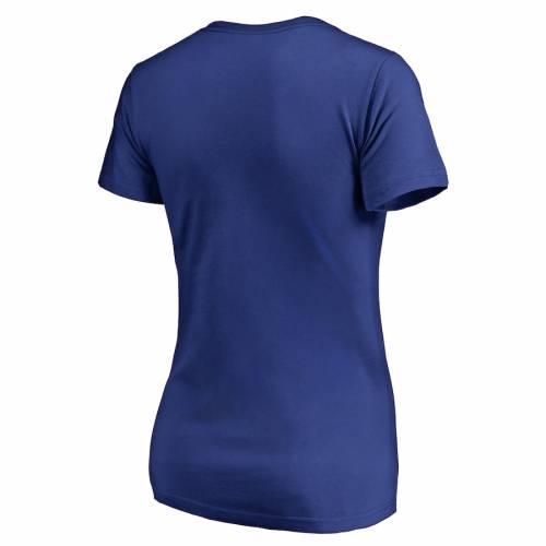 NFL PRO LINE BY FANATICS BRANDED ジャイアンツ レディース ロゴ ブイネック Tシャツ レディースファッション トップス カットソー 【 New York Giants Womens Primary Logo Plus-size V-neck T-shirt - Royal 】 Royal