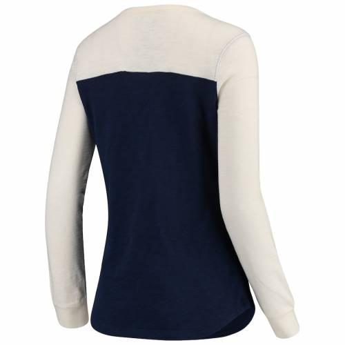 NFL PRO LINE BY FANATICS BRANDED シカゴ ベアーズ レディース スリーブ Tシャツ レディースファッション トップス カットソー 【 Chicago Bears Womens True Classics Lace Up Long Sleeve T-shirt - Navy/cream 】 Navy/