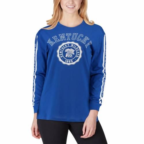 TOP OF THE WORLD ケンタッキー レディース スリーブ Tシャツ レディースファッション トップス カットソー 【 Kentucky Wildcats Womens Sunset Oversized Long Sleeve T-shirt - Royal 】 Royal