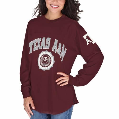 PRESSBOX テキサス レディース スリーブ Tシャツ A&M WOMEN'S 【 SLEEVE PRESSBOX TEXAS AGGIES EDITH LONG TSHIRT MAROON 】 レディースファッション トップス Tシャツ カットソー