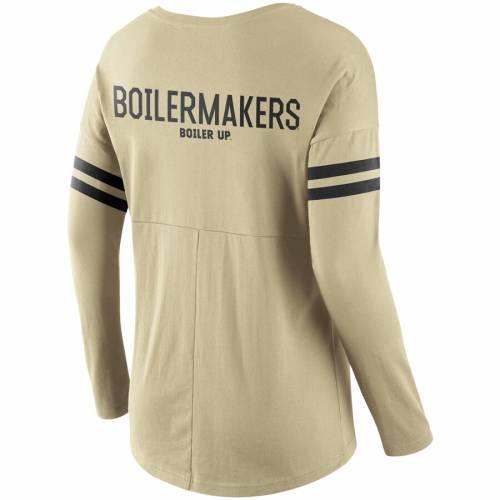 ナイキ NIKE レディース スリーブ Tシャツ レディースファッション トップス カットソー 【 Purdue Boilermakers Womens Tailgate Long Sleeve Scoop Neck T-shirt - Gold 】 Gold