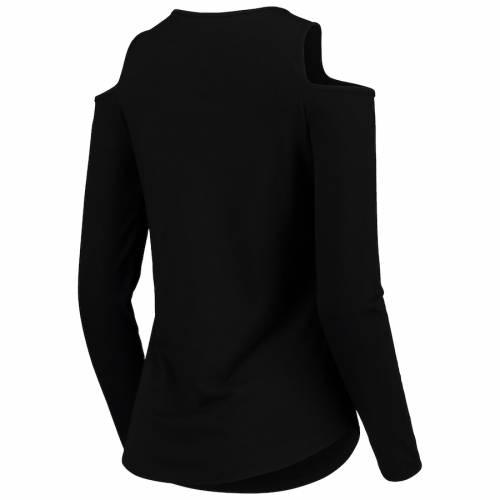 BOXERCRAFT レディース スリーブ Tシャツ 黒 ブラック レディースファッション トップス カットソー 【 Purdue Boilermakers Womens Cold Shoulder Long Sleeve T-shirt - Black 】 Black
