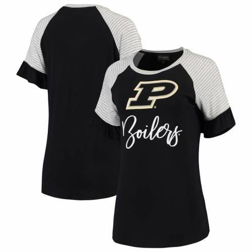 GAMEDAY COUTURE レディース スリーブ ラグラン Tシャツ 黒 ブラック レディースファッション トップス カットソー 【 Purdue Boilermakers Womens Twist It Up Ruffle Sleeve Raglan T-shirt - Black 】 Black