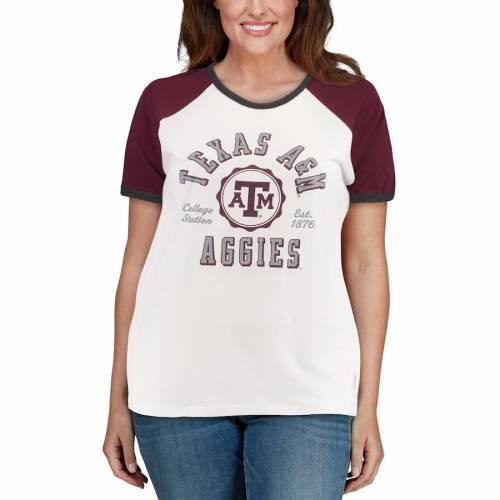 PRESSBOX テキサス レディース ラグラン Tシャツ レディースファッション トップス カットソー 【 Texas Aandm Aggies Womens Plus Size Nova Ringer Raglan T-shirt - White/maroon 】 White/maroon